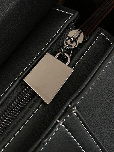 Stiching Buckle Strap Handbag - BLACK  Mobile