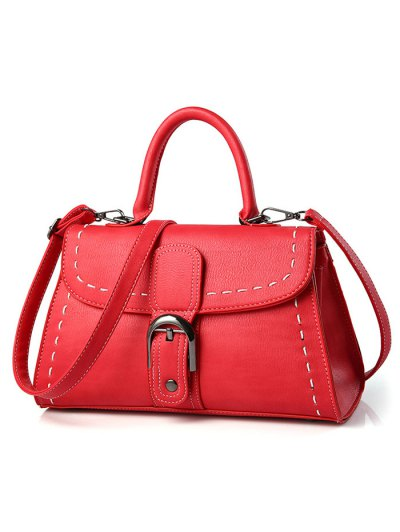 Stiching Buckle Strap Handbag - RED  Mobile