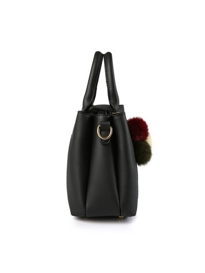 Faux Leather Handbag with Pom Pom - RED  Mobile