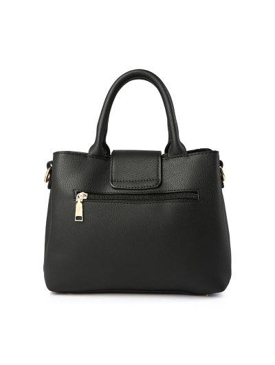 Faux Leather Handbag with Pom Pom - PEONY PINK  Mobile