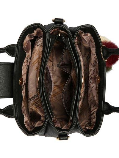 Faux Leather Handbag with Pom Pom - DEEP GRAY  Mobile