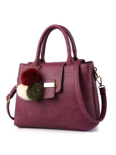 Faux Leather Handbag with Pom Pom - PURPLISH RED  Mobile