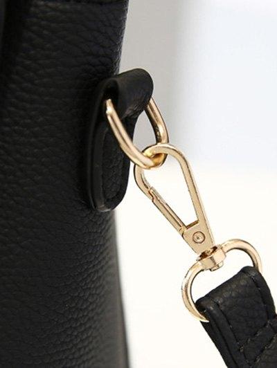 Flapped Rivet Textured Handbag - BLACK  Mobile