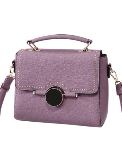 Flapped Rivet Textured Handbag - PURPLE  Mobile
