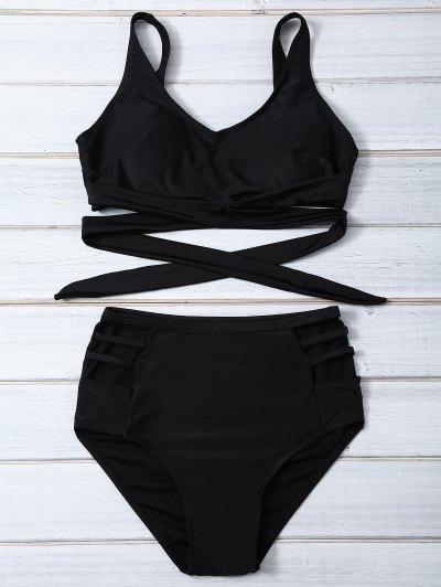 Bandage High Waist Bikini Set - Negro