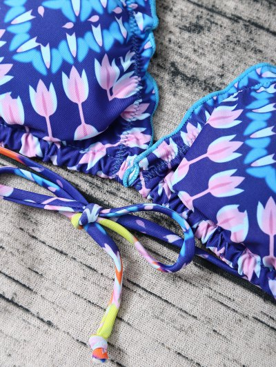 Side Tie Halter Tassel Printed Bikini Set - BLUE L Mobile