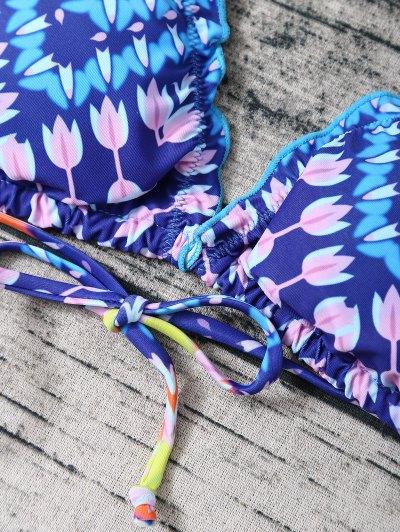 Lace Up Halter Tassel Printed Bikini Set - BLUE M Mobile