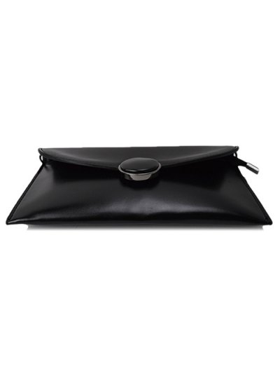 Waxed Leather Flapped Clutch Bag - BLACK  Mobile