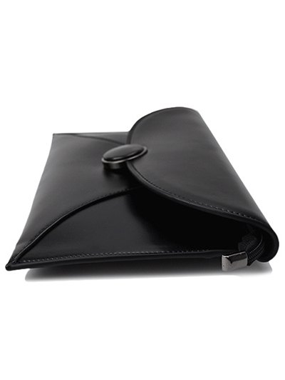 Waxed Leather Envelope Clutch Bag - BLACK  Mobile
