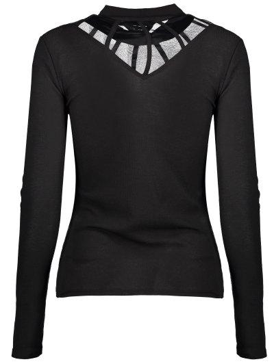 Mesh Panel Fitted Choker T-Shirt - BLACK XL Mobile