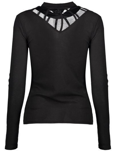 Mesh Panel Fitted Choker T-Shirt - BLACK L Mobile
