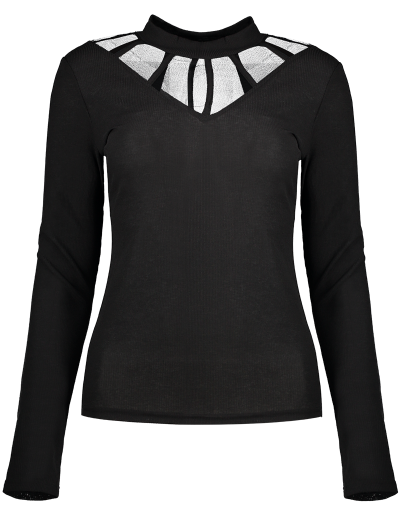 Mesh Panel Fitted Choker T-Shirt - BLACK M Mobile