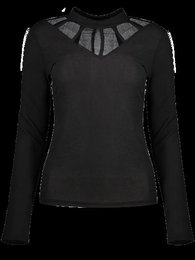 Mesh Panel Fitted Choker T-Shirt - BLACK S Mobile