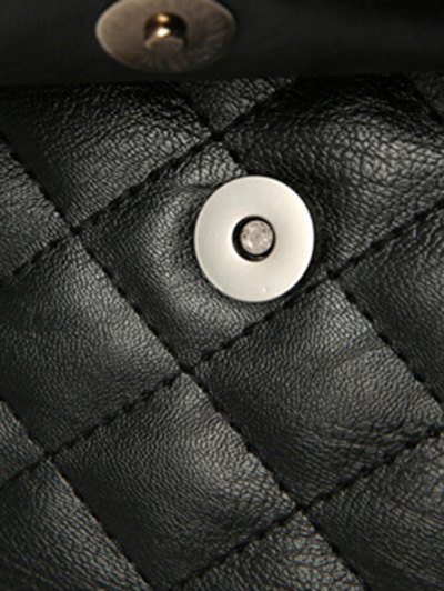 Quilted Panel Backpack with Pom Pom - BLACK  Mobile