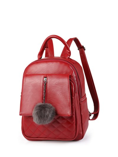 Quilted Panel Backpack with Pom Pom - RED  Mobile