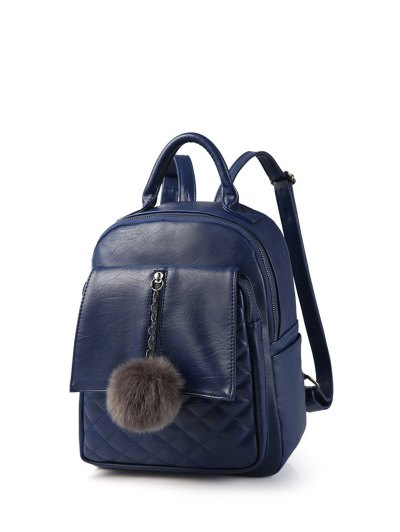 Quilted Panel Backpack with Pom Pom - BLUE  Mobile