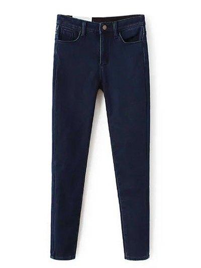Super Elastic Wool Blend Pencil Jeans - DEEP BLUE S Mobile