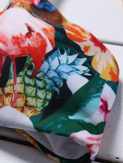 Cutout Lace-Up Floral Bikini Set - GREEN L Mobile