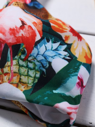 Cutout Lace-Up Floral Bikini Set - GREEN S Mobile