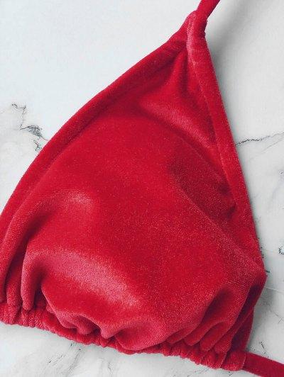 Velvet String Bikini Set - RED S Mobile
