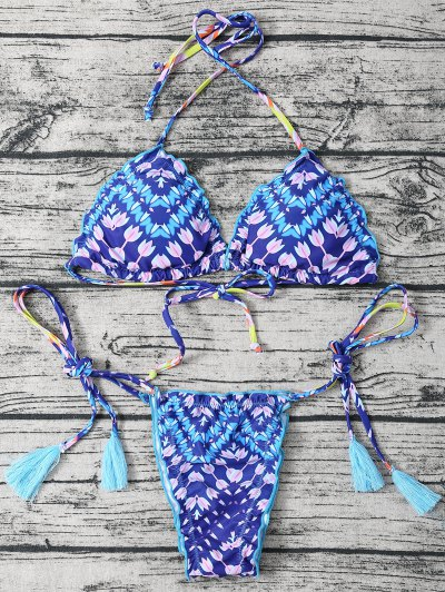 Ate Para Arriba La Borla Cabestro Bikini Set Impreso - Azul M