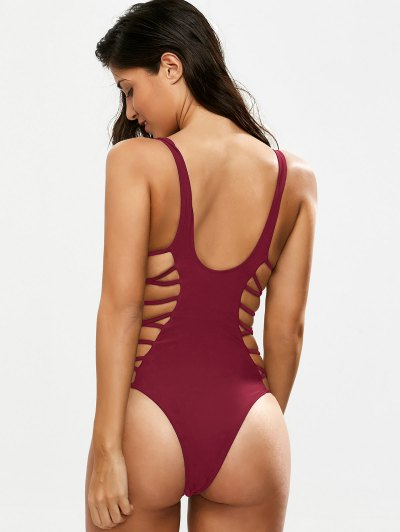 Crisscross Strap Cut Out Swimsuit - BURGUNDY S Mobile