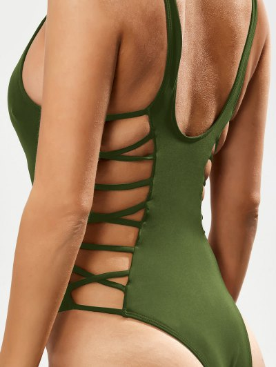 Crisscross Strap Cut Out Swimsuit - GREEN L Mobile