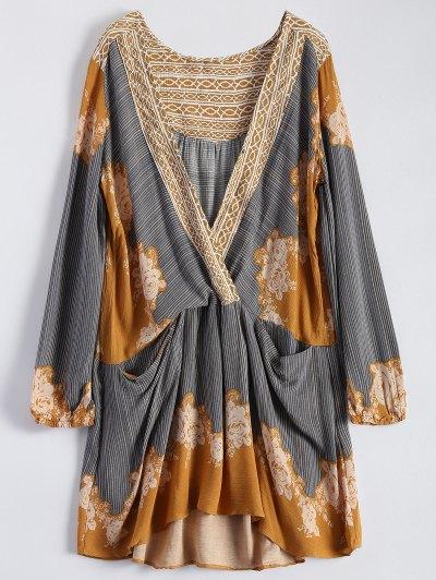 Long Sleeve Floral Surplice Dress - Yellow
