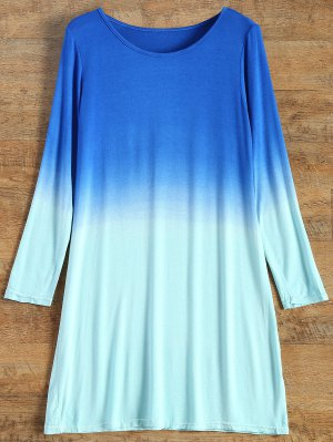 Long Sleeve Ombre T-Shirt Dress - Turquoise