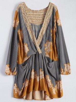 Long Sleeve Floral Surplice Dress