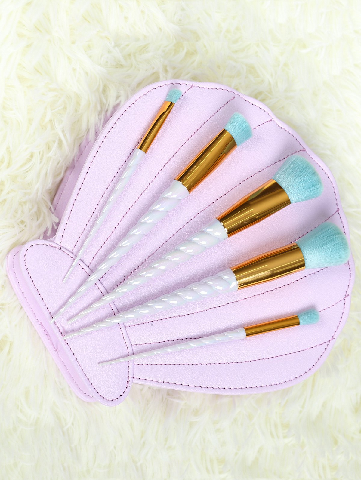 5 Pcs Spiral Unicorn Makeup Brushes Set