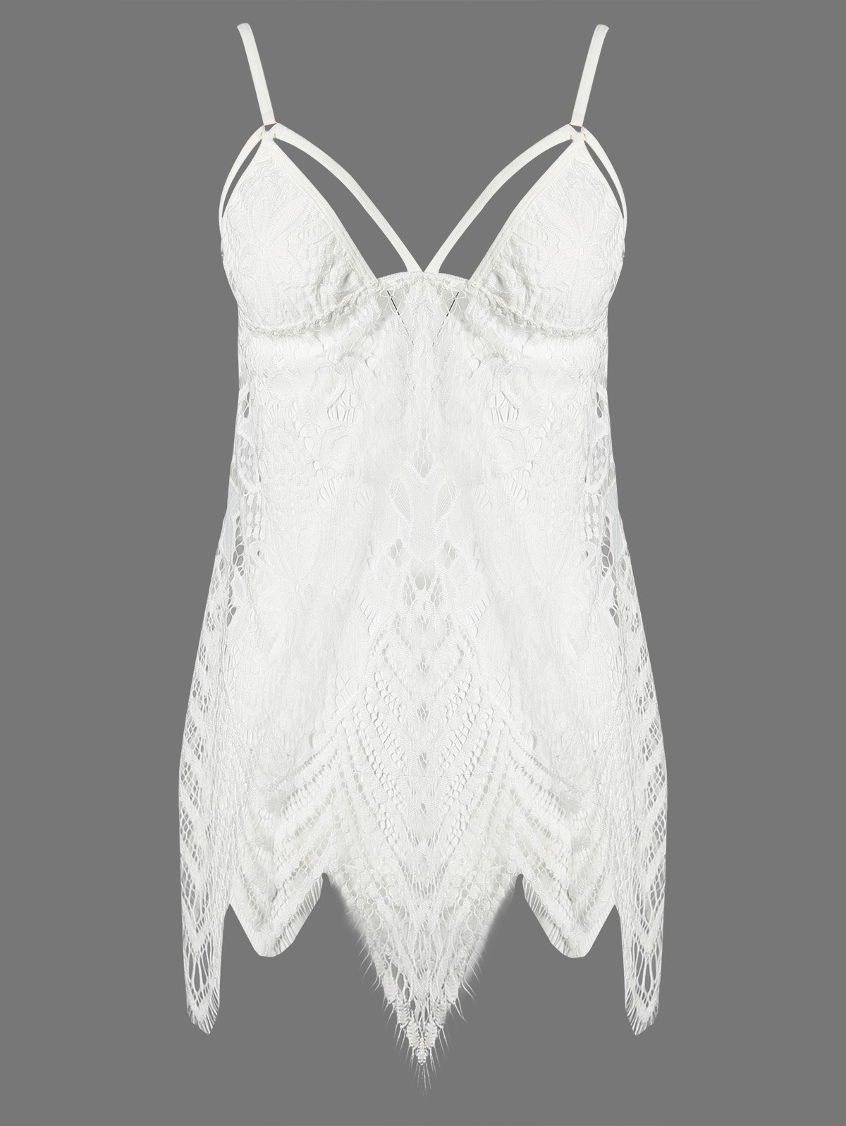 Asymmetric Lace Strappy Babydoll and Briefs
