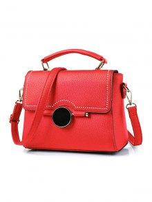 Buy Flapped Rivet Textured Handbag - RED
