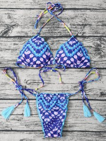 Side Tie Halter Tassel Printed Bikini Set