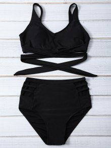 Bandage High Waist Bikini Set - Black