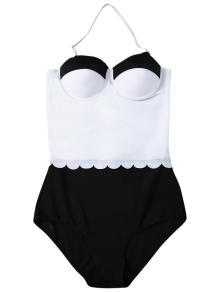 Color Block Halter Push Up Swimwear - WHITE/BLACK S