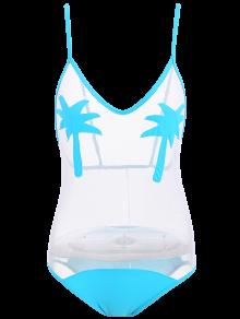 Palm Tree See Through Sheer Swimwear - Lake Blue L