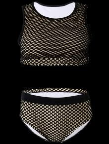 High Waist Grid Panel Swimwear Set - Black 3xl