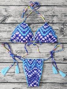 Lace Up Halter Tassel Printed Bikini - Bleu M