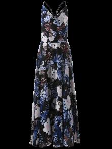Vintage Cut Out Floral Dress - Blue