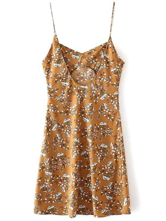Mini Low Back Floral Slip Dress - YELLOW M Mobile