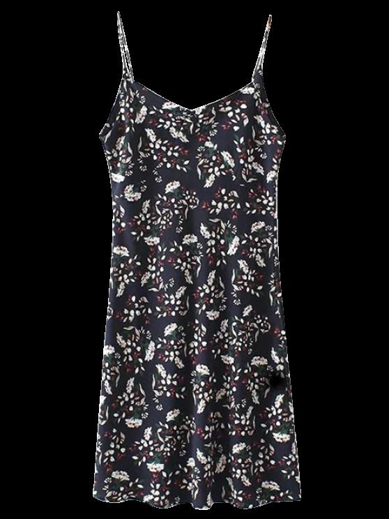 unique Mini Low Back Floral Slip Dress - CADETBLUE S