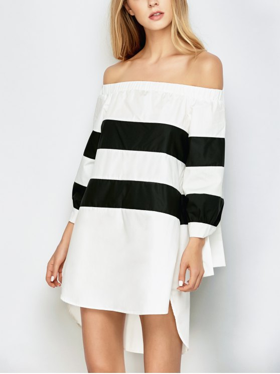 hot High Low Striped Off Shoulder Dress - WHITE AND BLACK L