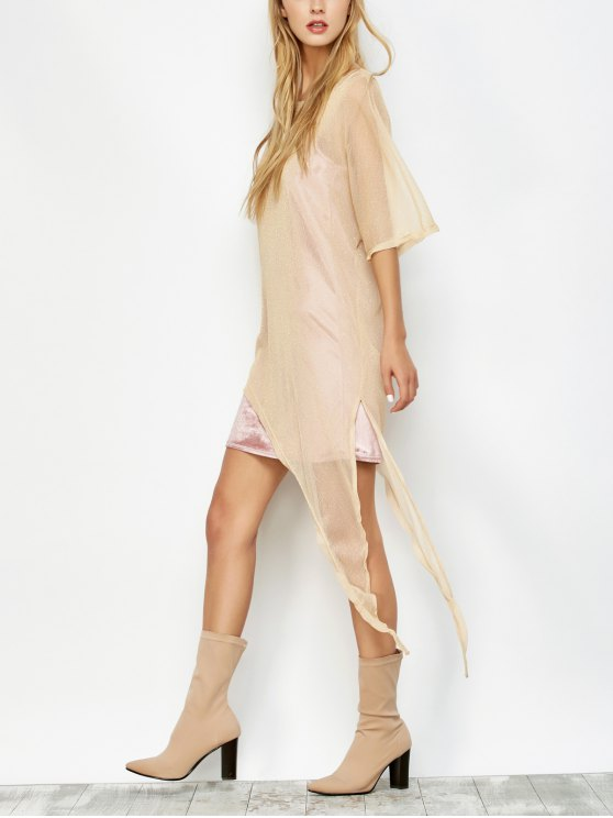 affordable Asymmetric See-Through Cover Up - GOLDEN L