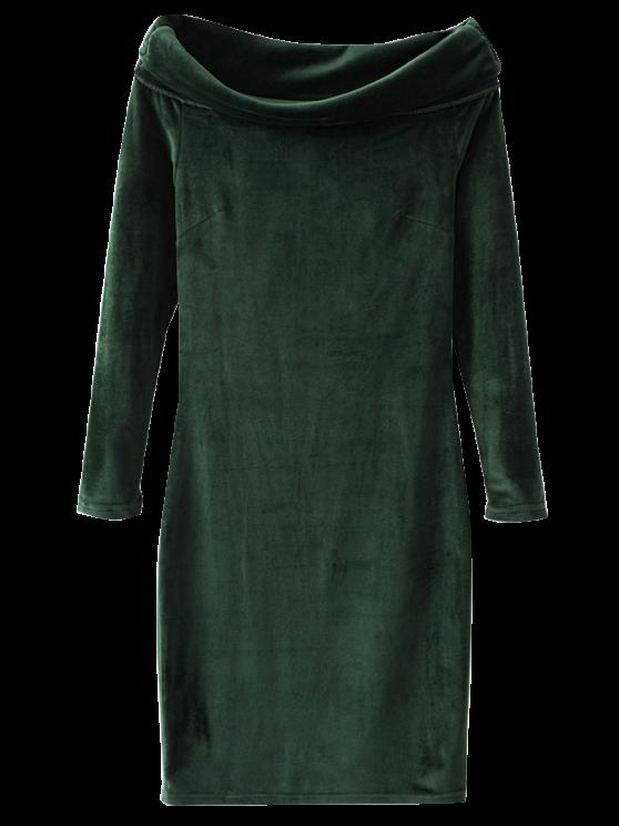 best Velvet Bodycon Off The Shoulder Dress - DEEP GREEN M