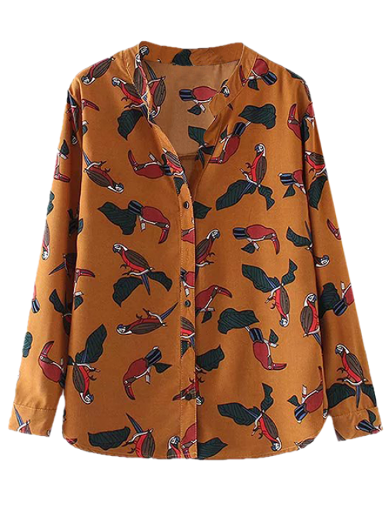 outfits Birds Printed Stand Collar Shirt - YELLOW OCHER S