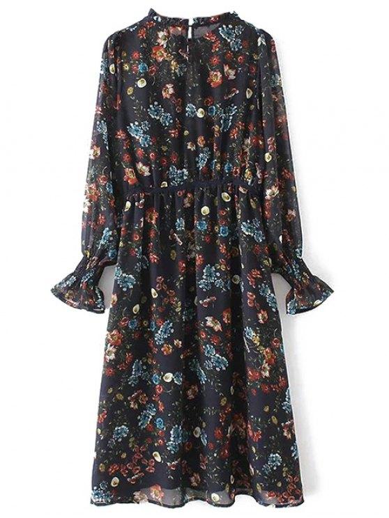 Long Sleeve Printed Sheer Smock Dress - PURPLISH BLUE S Mobile