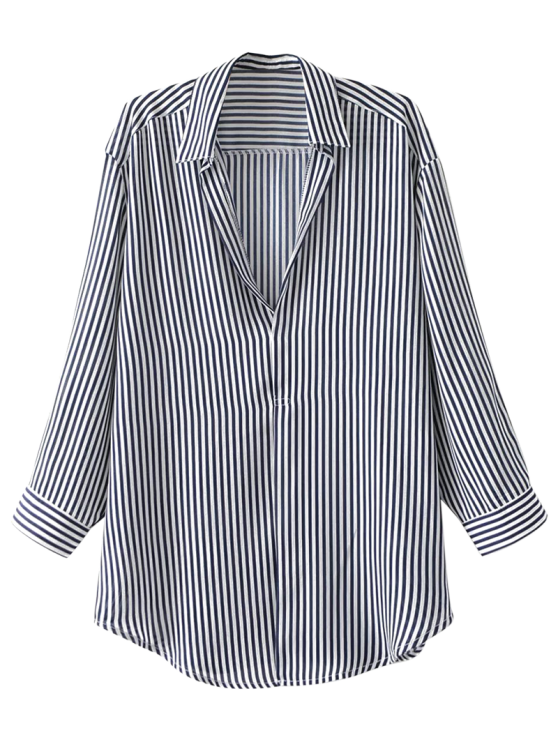Pullover Oversized Striped Blouse Stripe Blouses S Zaful