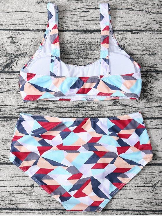 High Waisted Geometric Print Bikini - COLORMIX S Mobile