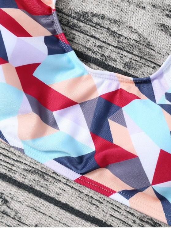 High Waisted Geometric Print Bikini - COLORMIX M Mobile